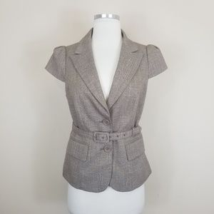 The Limited Brown Cap Sleeve Belted Blazer